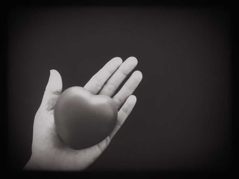 heart in hand black and white photo NKGNLGS n
