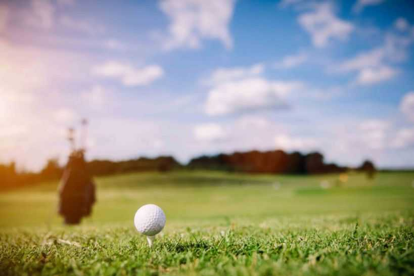 white golf ball on a green grass reduced file size n